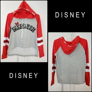 Disney Woman Minnie Mouse Hoodie Pull Over Sweater